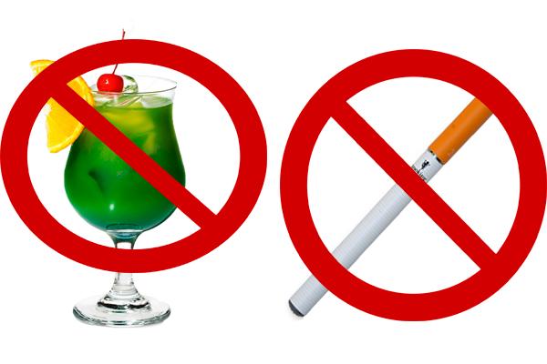 Запрет на употребление спиртного и курение табака перед сдачей анализа на гормоны ФСГ и ЛГ