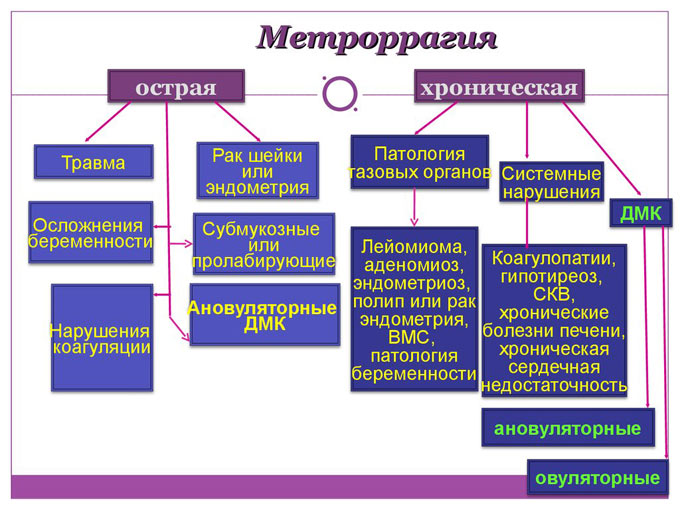 класификация видов метроррагии