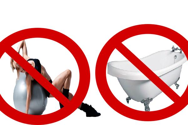 Запреты на занятие физкультурой и прием горячей ванны после переноса эмбрионов